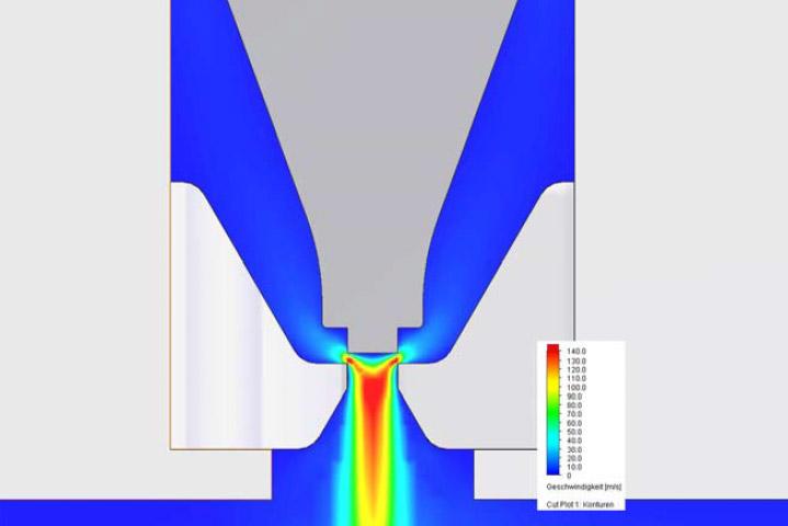 Strömungssimulation einer Düse