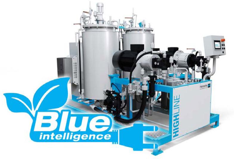 Blue Intelligence: deutlich reduzierte Energiekosten bei der Hochdruck-Dosierung von Polyurethan